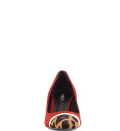 Scarpins Cap Toe Animal Print Red