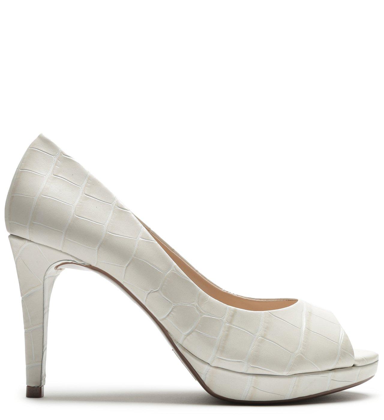 Scarpin Peep Toe Croco Pearl | Schutz