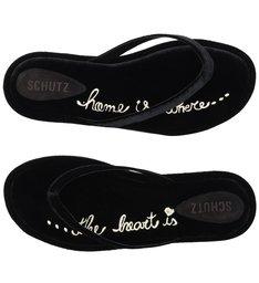 Homewear Flat Flip Flop Ava Velvet Black