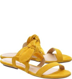 Rasteira Sweet Nobuck Laço Yellow