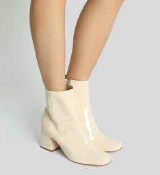 Bota Block Heel Verniz White