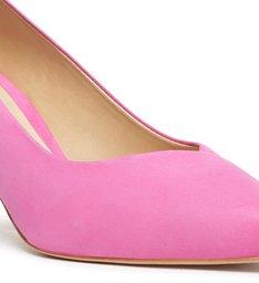 Sapato Scarpin Salto Médio Nobuck Rosa