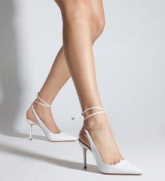 Schutz x Ginger Scarpin Lace-Up Branco
