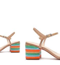 Sandália Block Heel Texture Fresh Orange/Blue