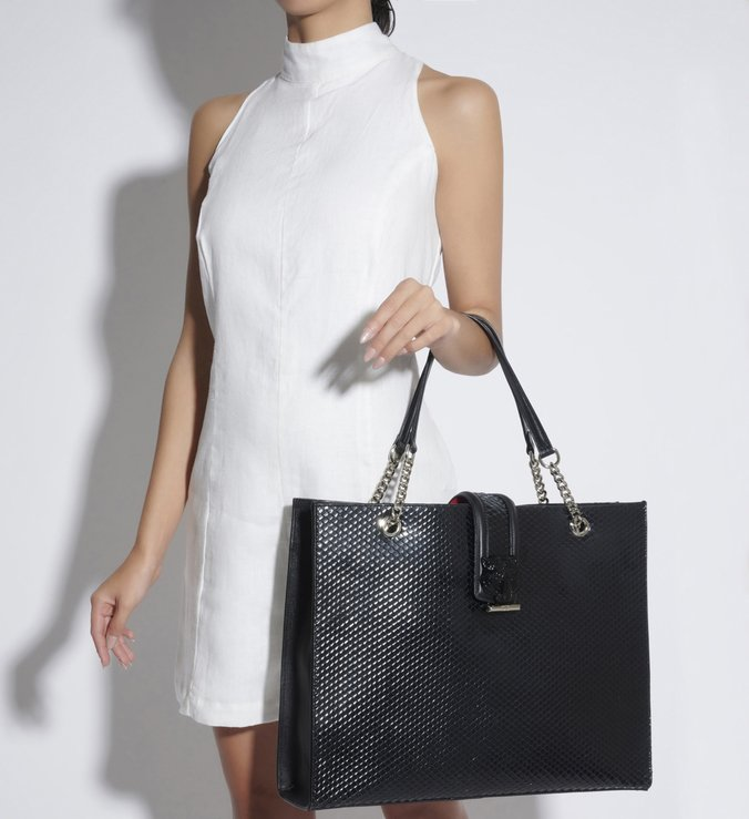 SHOPPING BAG HANNA BRIGHT SNAKE BLACK
