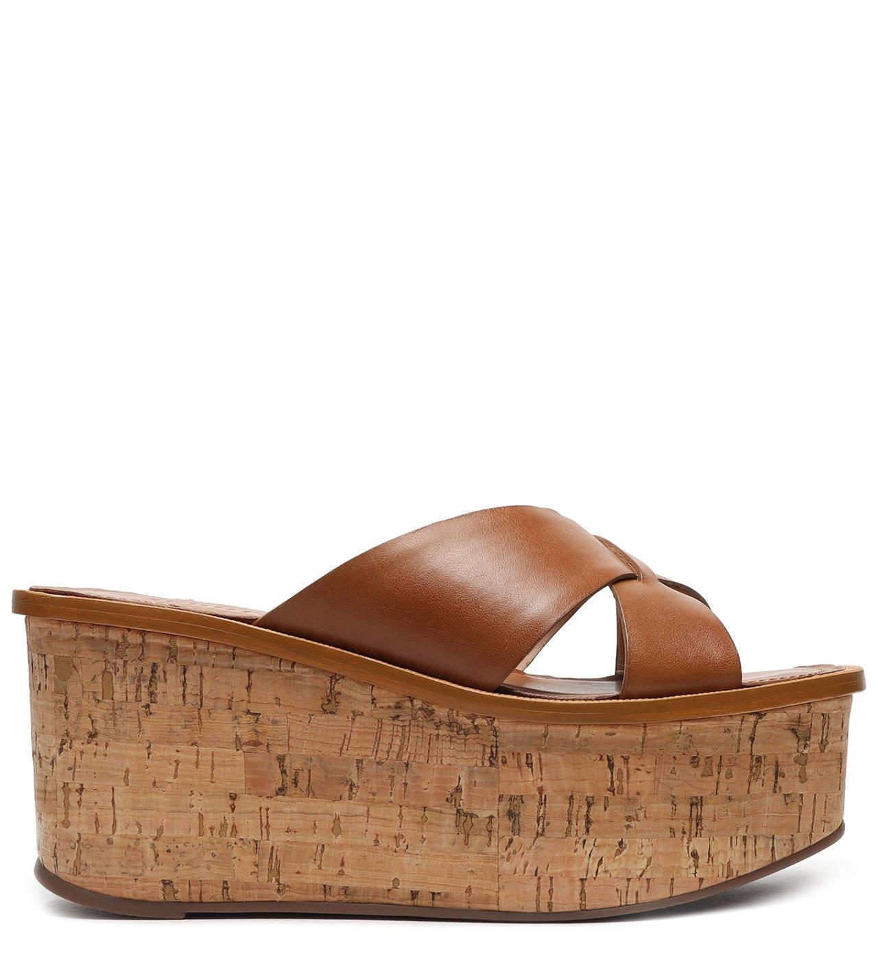 Sandália Flatform Cortiça Minimal Wood | Schutz