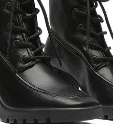 Combat Boot Block Heel Black