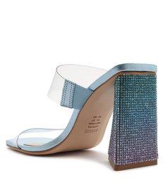 Sandália Mule Salto Ariellen Vinil Transparente Azul