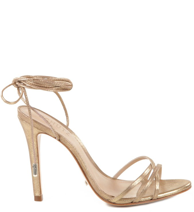 Sandália Thin Lace Up Ouro