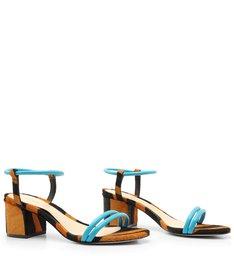 Sandália Block Heel Zebra Blue