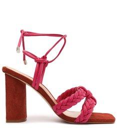 Sandália Salto Alto Camurça Amarração Vermelha e Rosa