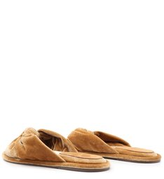 [On Demand] Homewear Flat Flip Flop Sarah Velvet Açafrão