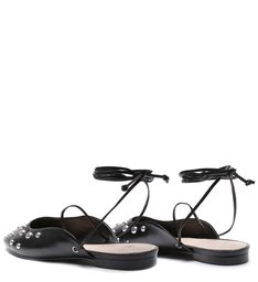 FLAT BALLERINA LACE-UP BLACK