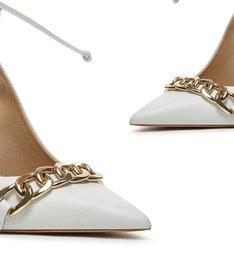 Sapato Scarpin Slingback Amarração Branco