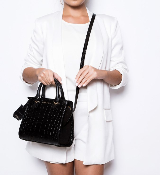 Mini Tote Nicole  Croco Black