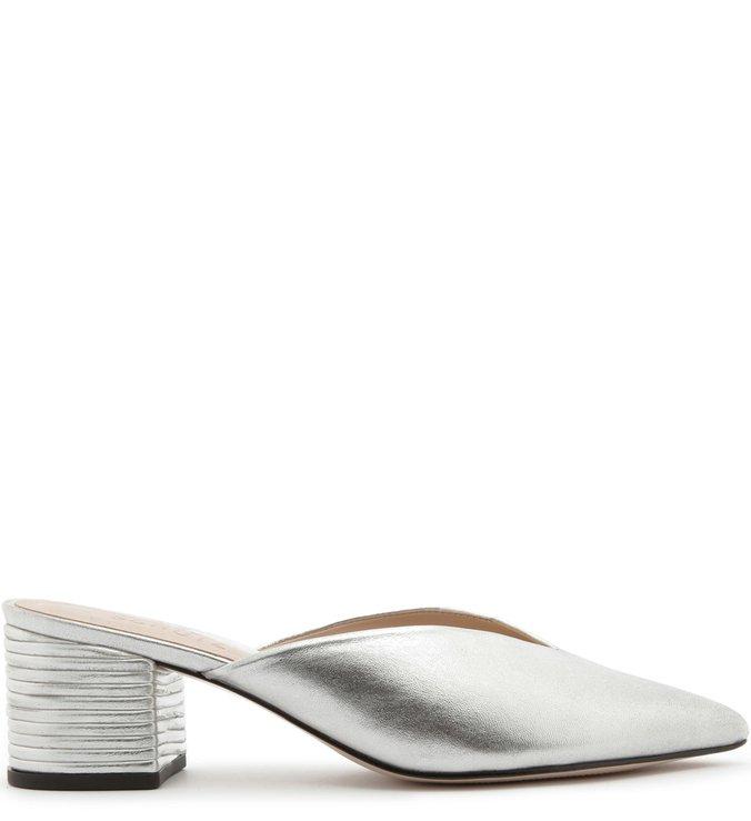 Mule Block Heel Texture Prata