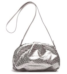 Clutch Avril Croco Metallic Prata