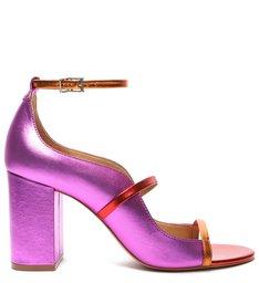 Sandália Salto Bloco Metalizada Violeta