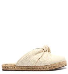 Sapato Mule Rasteira Corda Tecido Branca
