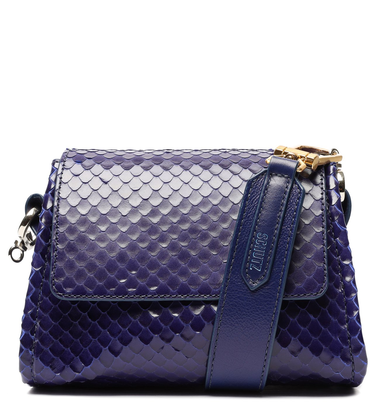 Bolsa Mini Tiracolo Mandy Snake Azul-Marinho | Schutz
