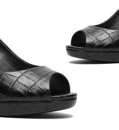 Scarpin Peep Toe Croco Black