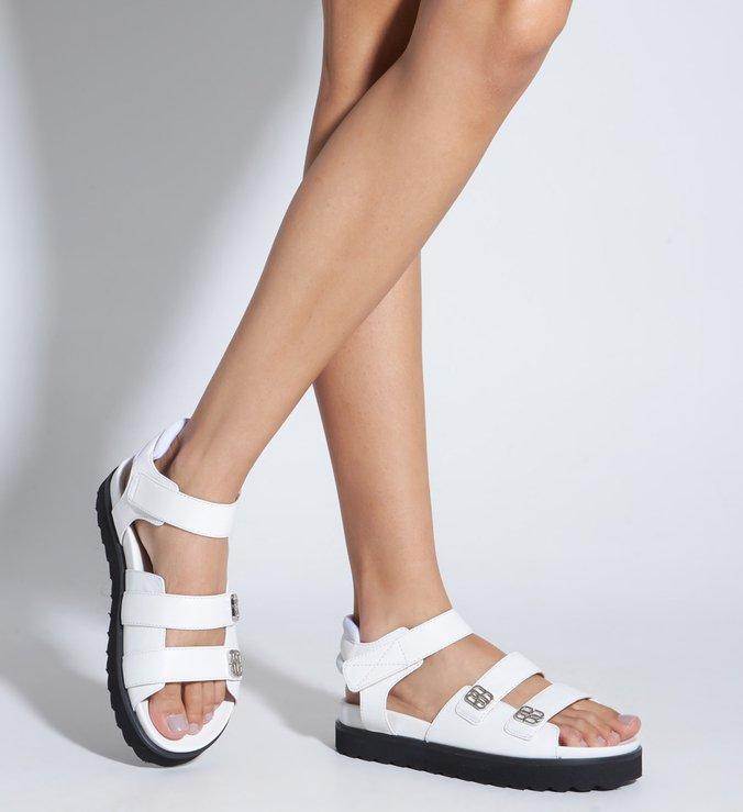 Sandália Papete Flatform Couro Tratorada Branca