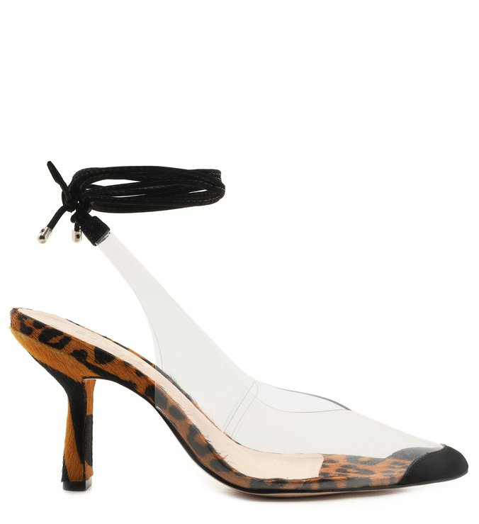 SCARPIN LACE-UP VINIL CLEAR ANIMAL PRINT