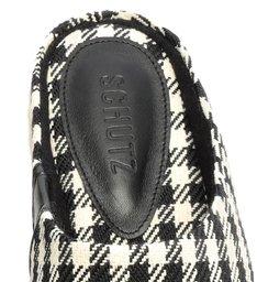 Sapato Mule Flatform Natural Estampa Xadrez