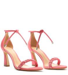 Sandália Salto Médio Nobuck Trançada Rosa