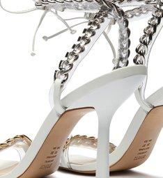 Sandália Salto Fino Corrente Branca