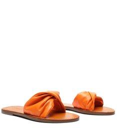 Flat Slide Couro Twist Tangerine