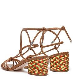 Sandália Block Heel Trama Lace-Up Wood