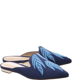 Flat Mule Leaf Dress Blue