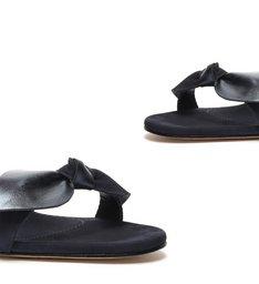 Sandália Salto Bloco Emily Nobuck Metalizada Azul Escuro