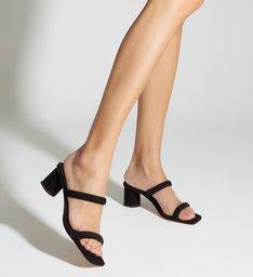 Mule Block Heel Straps Black