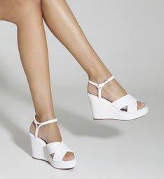 Sandália Anabela Texture  White