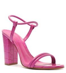 Sandália Salto Bloco Alto Croco Tiras Rosa