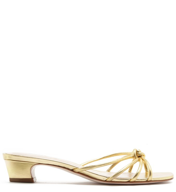 MULE STRINGS MICRO HEEL GOLD