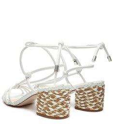 Sandália Block Heel Trama Lace-Up White
