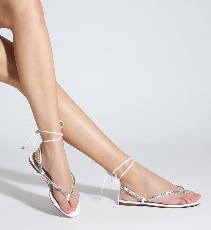 Sandália Rasteira Lace-Up Glam Pedraria White