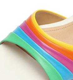 Sandália Mule Salto Baixo Quadrada Couro Rainbow Branca