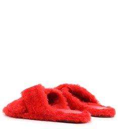 Homewear Flat Slide Lucy Alpaca Vermelho