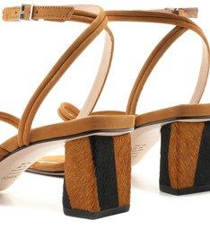Sandália Block Heel Zebra Strings Caramel