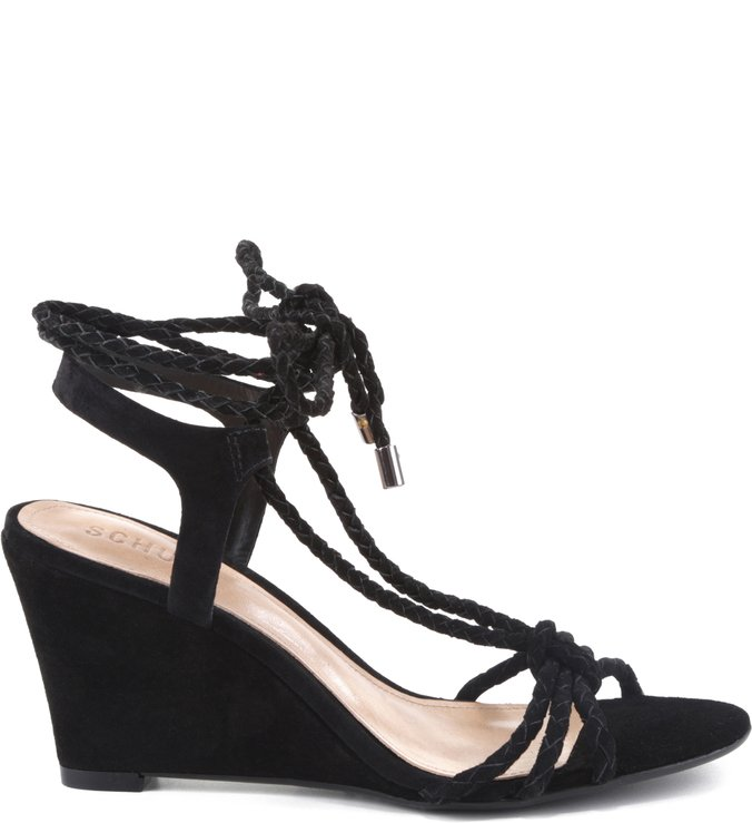 Anabela Lace Up Tie Black