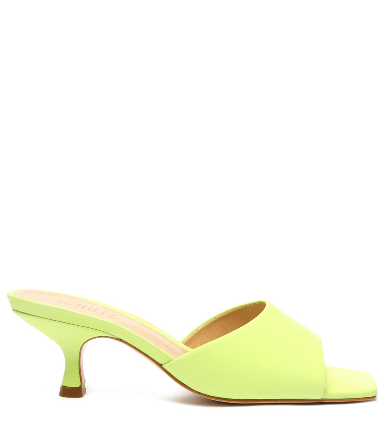 Sandália Mule Salto Baixo Nobuck Verde Neon | Schutz