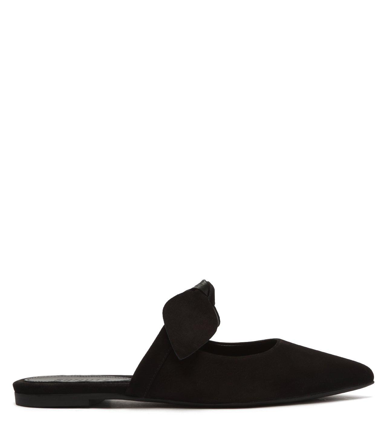 Sapato Mule Rasteira Nobuck Laço Preto | Schutz