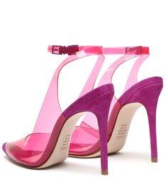 Sapato Scarpin Vinil Slingback Rosa