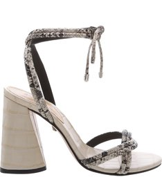 Sandália Salto Cone Lace-Up Python White
