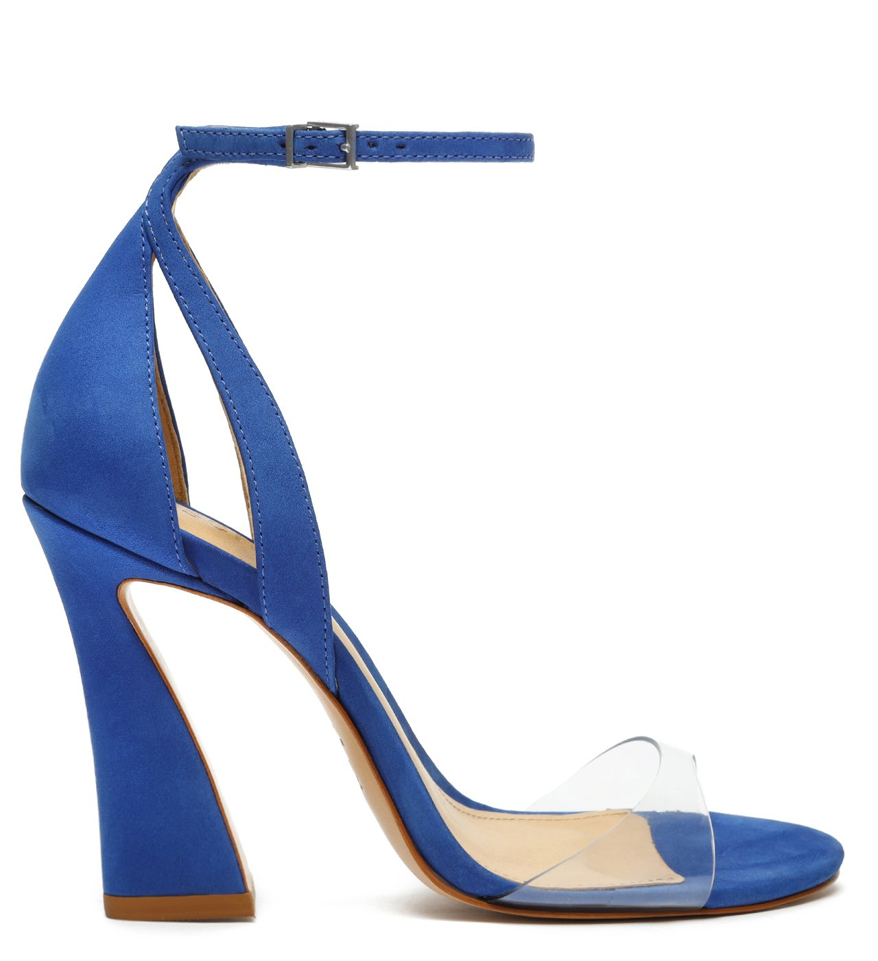 Sandália Salto Arquitetônico Vinil Azul | Schutz