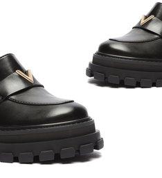 Sapato Mocassim Tratorado Couro Triangle Preto